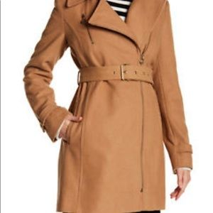 Michael Kors wool asymmetrical belted coat